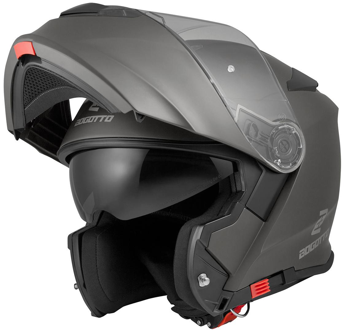 Bogotto V271 Motorrad Klapphelm, schwarz-grau, Größe S, schwarz-grau, Größe S