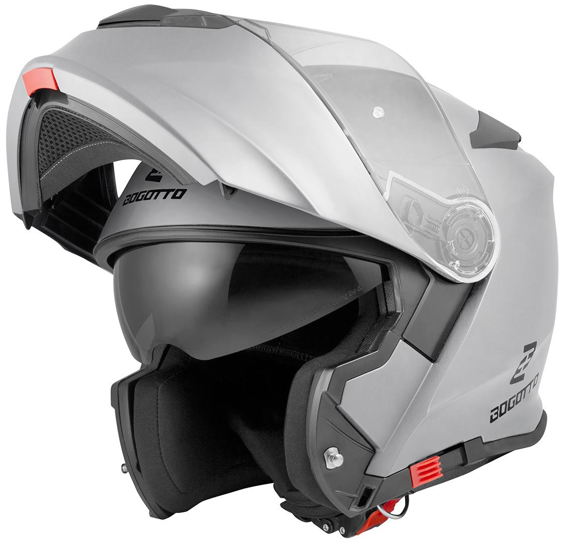 Bogotto V271 Motorrad Klapphelm, silber, Größe M, silber, Größe M
