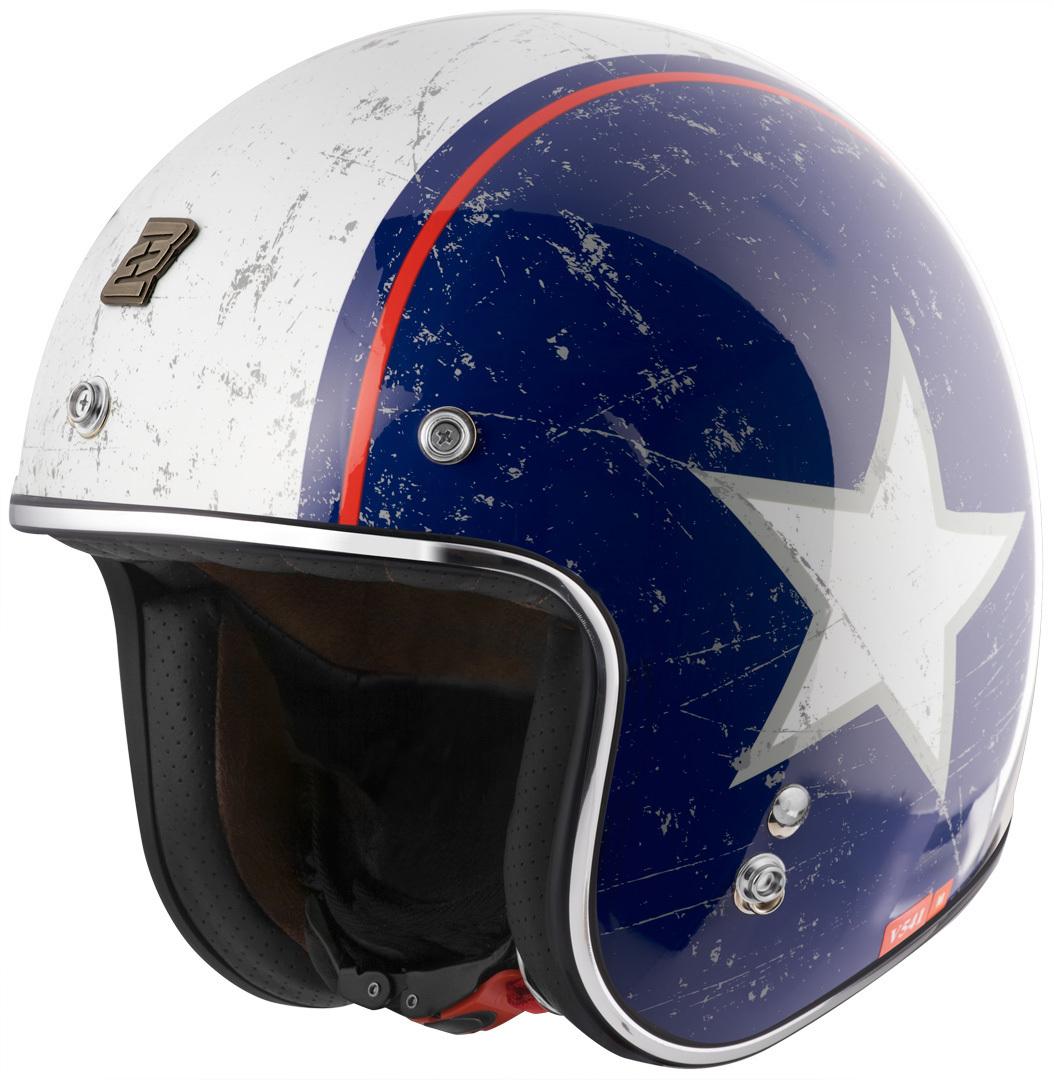 Bogotto V541 Rebel Jethelm, rot-blau, Größe M, rot-blau, Größe M