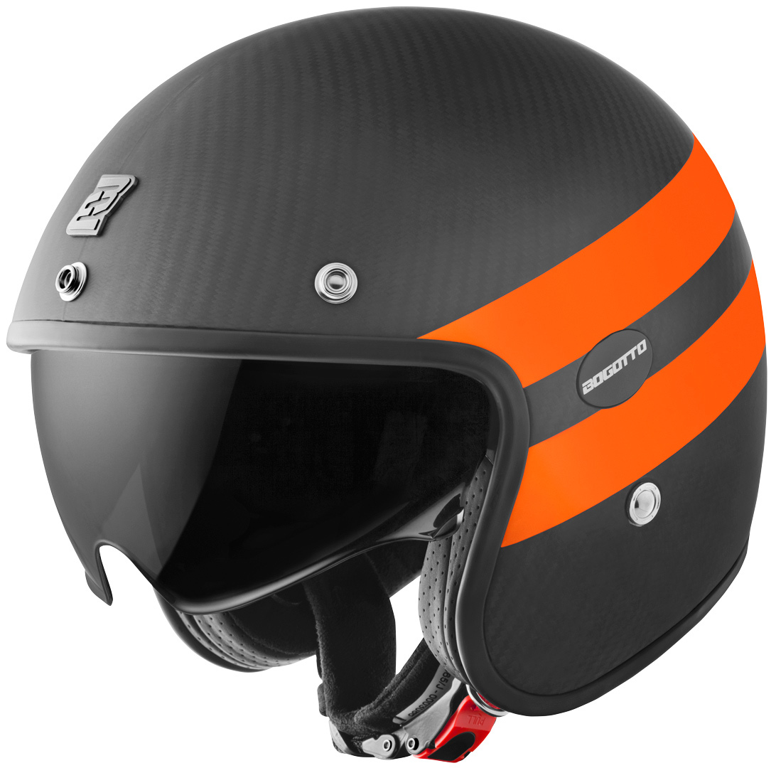 Bogotto V587 Crono Carbon Jethelm, schwarz-orange, Größe L, schwarz-orange, Größe L