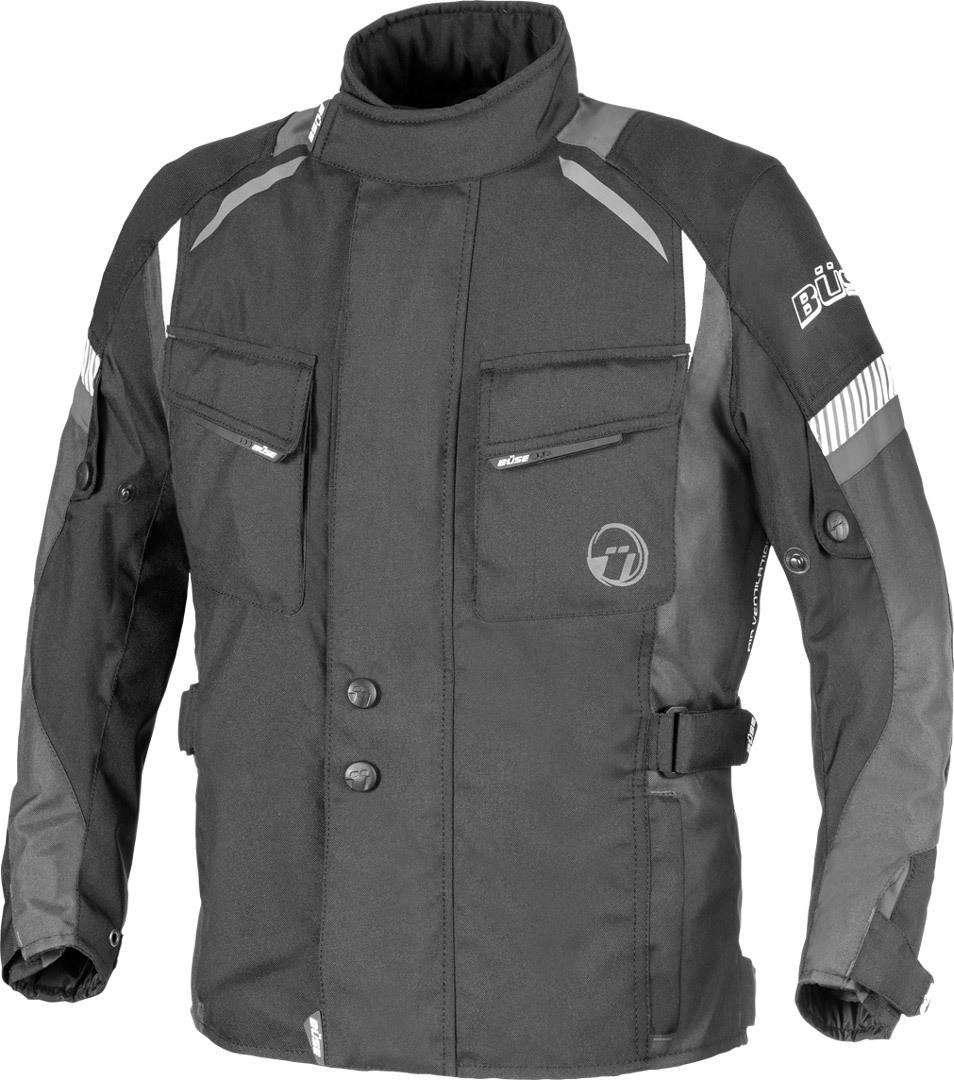 Büse Breno Kids Kinder Motorrad Textiljacke, schwarz-grau, Größe XS 140, schwarz-grau, Größe XS 140