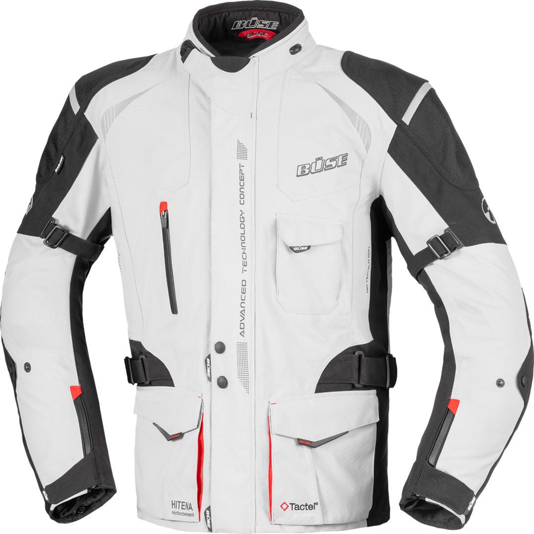 Büse Grado Motorrad Textiljacke, schwarz-grau-rot, Größe 52, schwarz-grau-rot, Größe 52