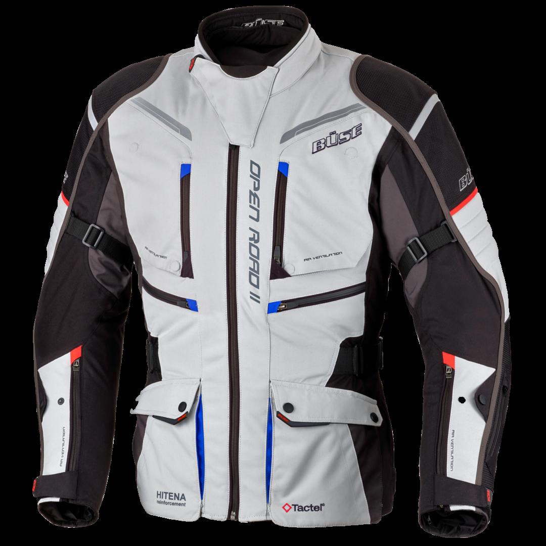 Büse Open Road II Motorrad Textiljacke, grau, Größe 54, grau, Größe 54