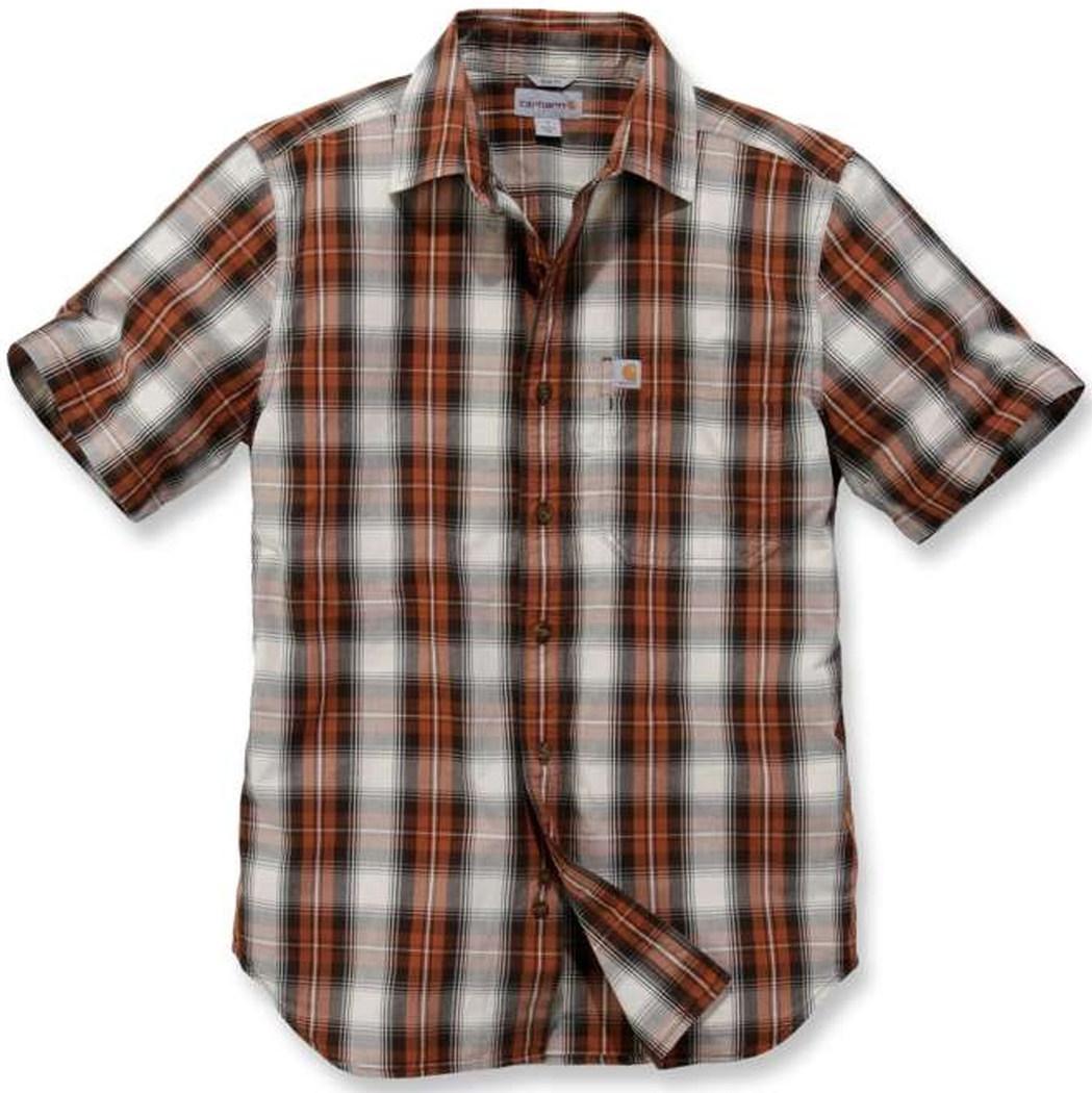 Carhartt Essential Kurzarmhemd, weiss-rot, Größe L, weiss-rot, Größe L