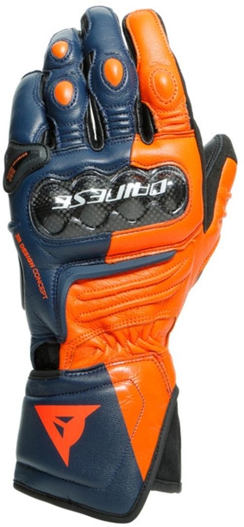 Dainese Carbon 3 Long Motorradhandschuhe, blau-orange, Größe L, blau-orange, Größe L