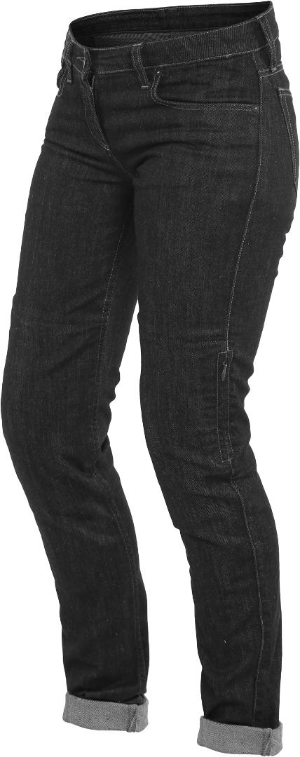 Dainese Denim Slim Damen Motorrad Textilhose, schwarz, Größe 24, schwarz, Größe 24