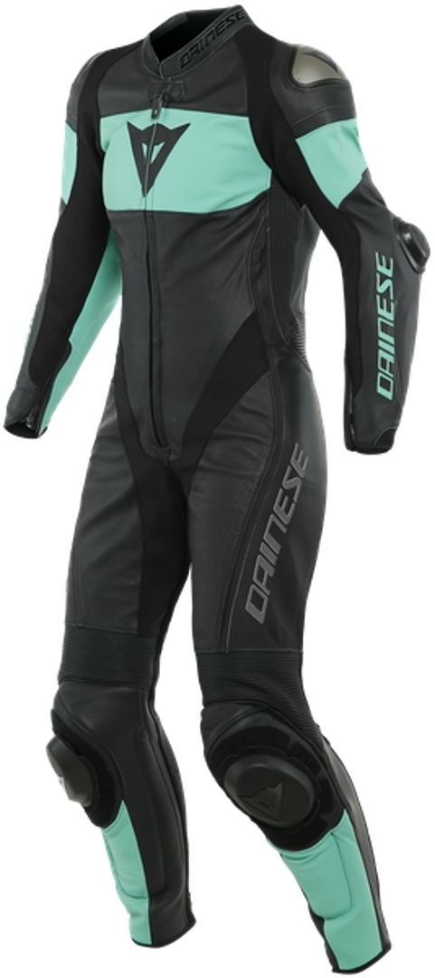 Dainese Imatra 1-Teiler Perforierte Damen Motorrad Lederkombi, schwarz-grün, Größe 44, schwarz-grün, Größe 44