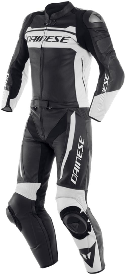 Dainese Mistel 2-Teiler Motorrad Lederkombi, schwarz-weiss, Größe 46, schwarz-weiss, Größe 46