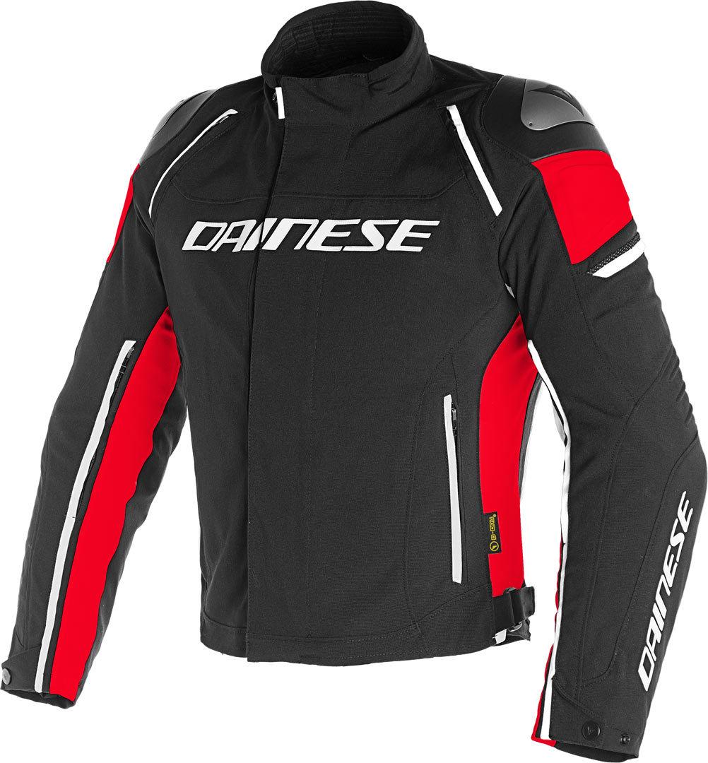 Dainese Racing 3 D-Dry Motorrad Textiljacke, schwarz-rot, Größe 52, schwarz-rot, Größe 52