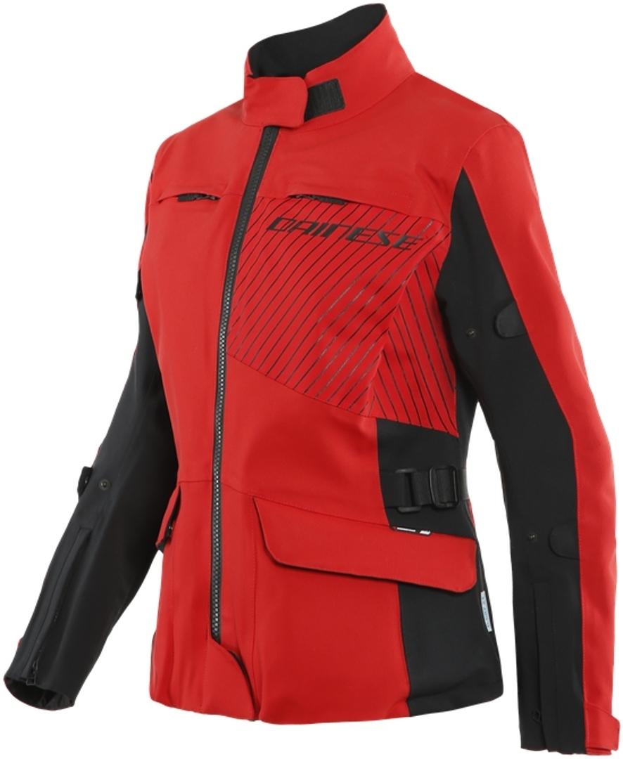 Dainese Tonale D-Dry XT Damen Motorrad Textiljacke, schwarz-rot, Größe 52, schwarz-rot, Größe 52