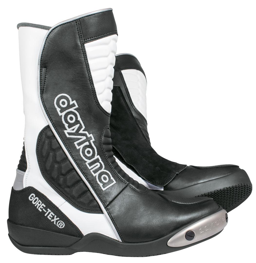 Daytona Strive GTX Gore-Tex wasserdichte Motorradstiefel, schwarz-weiss, Größe 46, schwarz-weiss, Größe 46