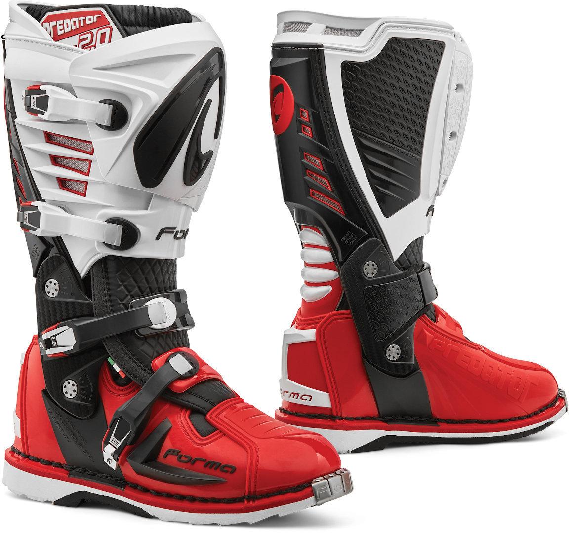 Forma Predator 2.0 Motocross Stiefel, schwarz-weiss-rot, Größe 42, schwarz-weiss-rot, Größe 42