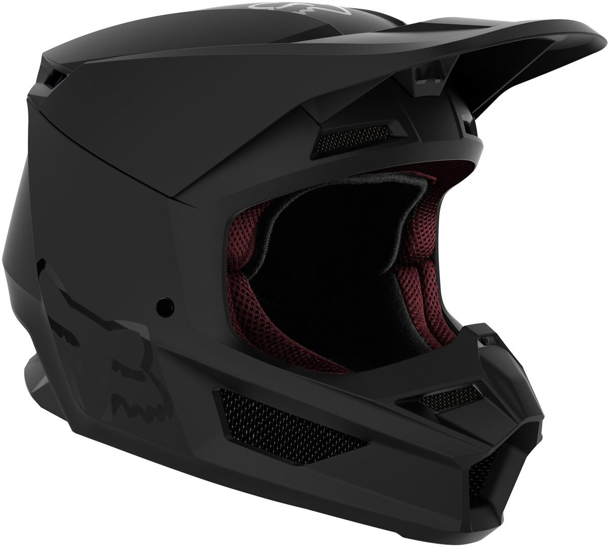FOX V1 Matte Jugend Motocross Helm, schwarz, Größe S, schwarz, Größe S