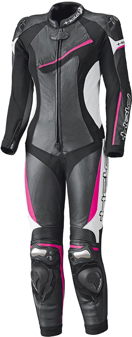 Held Ayana II 1-Teiler Damen Motorrad Lederkombi, schwarz-weiss-pink, Größe 42, schwarz-weiss-pink, Größe 42