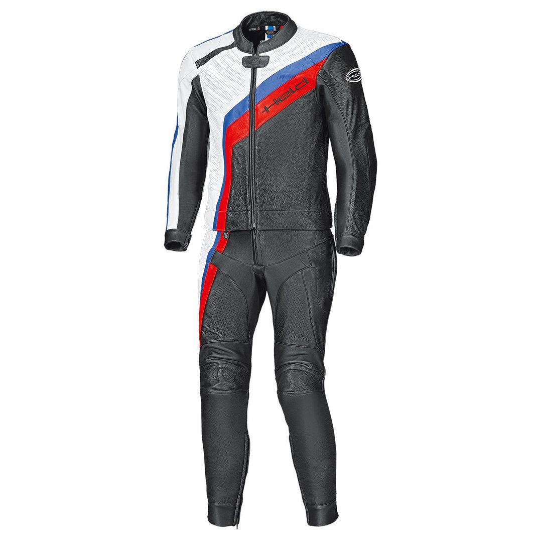 Held Medalist 2-Teiler Motorrad Lederkombi, schwarz-weiss-rot-blau, Größe 54 56, schwarz-weiss-rot-blau, Größe 54 56