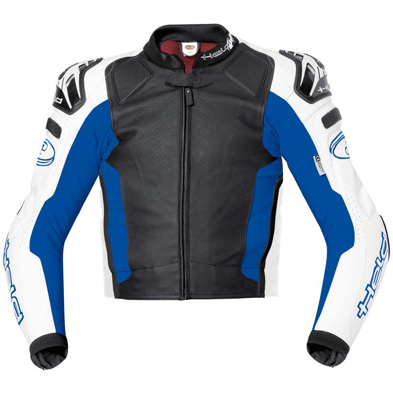 Held Safer Motorrad Lederjacke, schwarz-blau, Größe 50, schwarz-blau, Größe 50