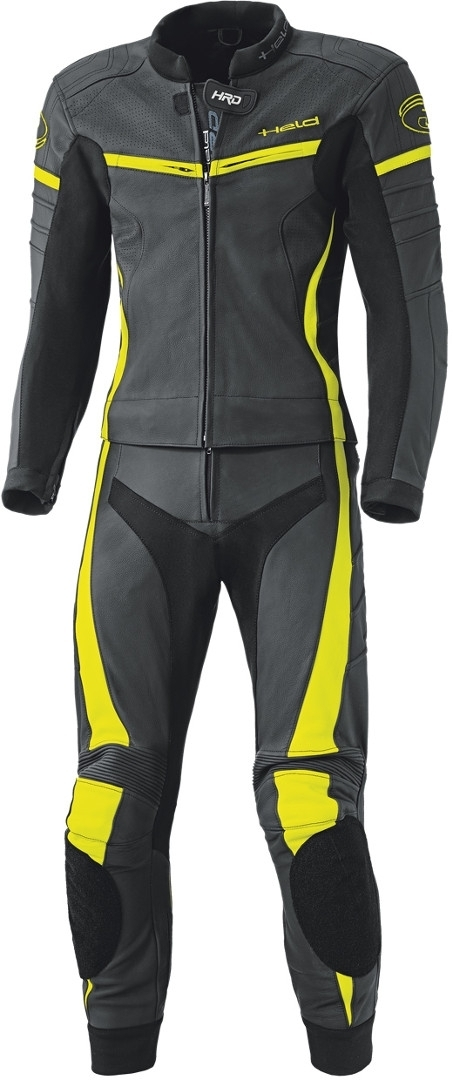 Held Spire 2-Teiler Motorrad Lederkombi, schwarz-gelb, Größe 54, schwarz-gelb, Größe 54