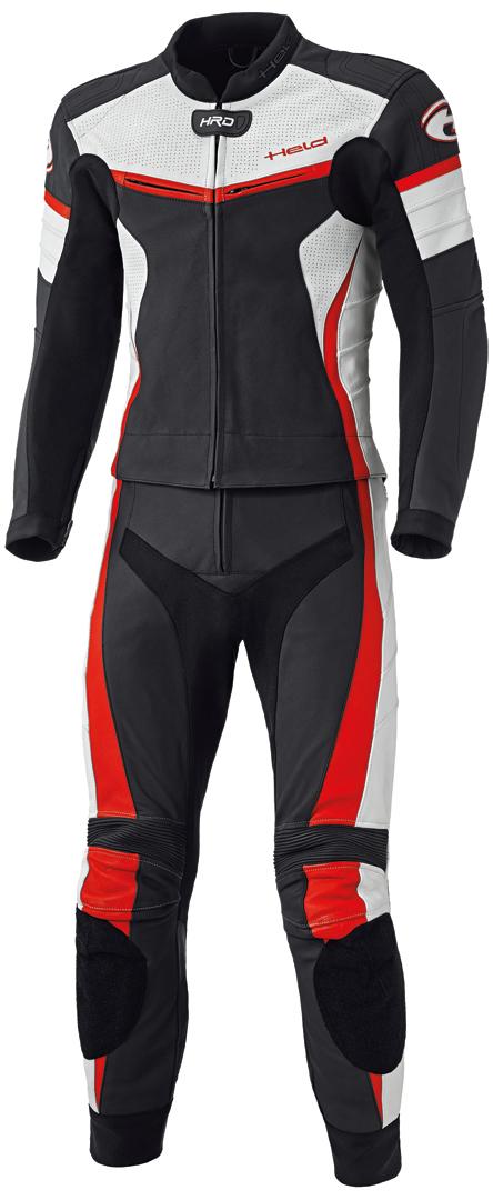 Held Spire 2-Teiler Motorrad Lederkombi, schwarz-rot, Größe 58, schwarz-rot, Größe 58