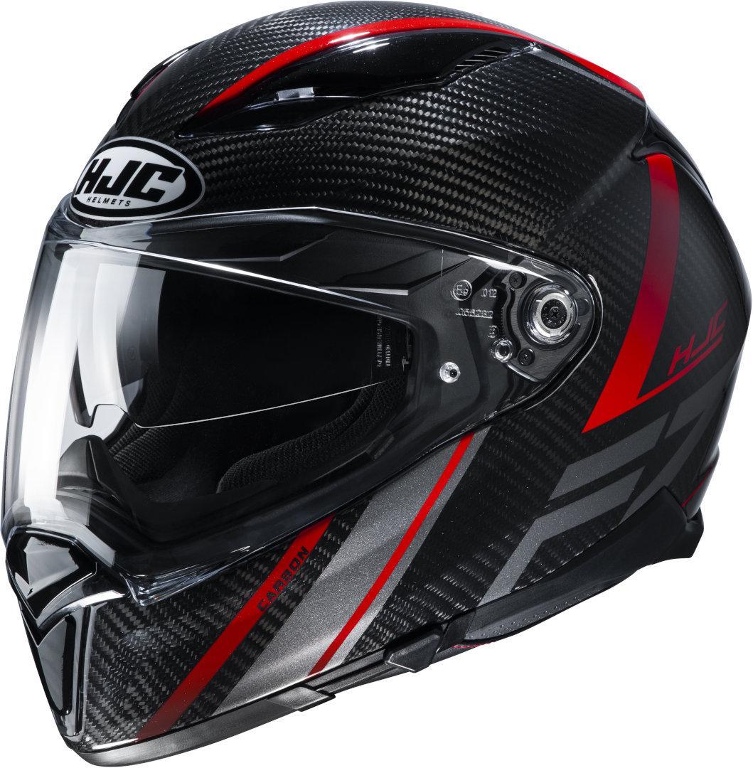 HJC F70 Carbon Eston Helm, schwarz-rot, Größe M, schwarz-rot, Größe M