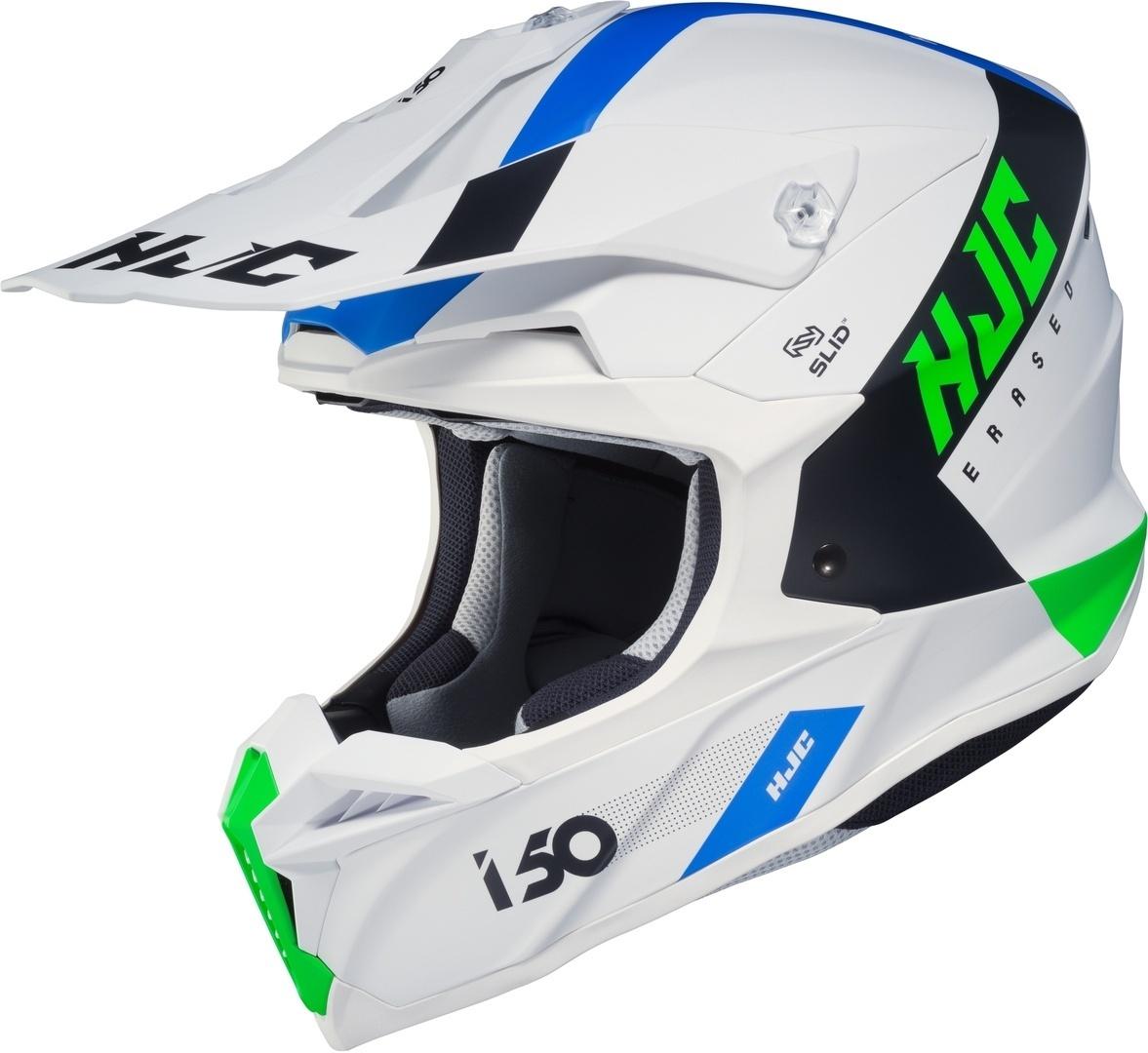 HJC i50 Erased Motocross Helm, weiss-blau, Größe M, weiss-blau, Größe M